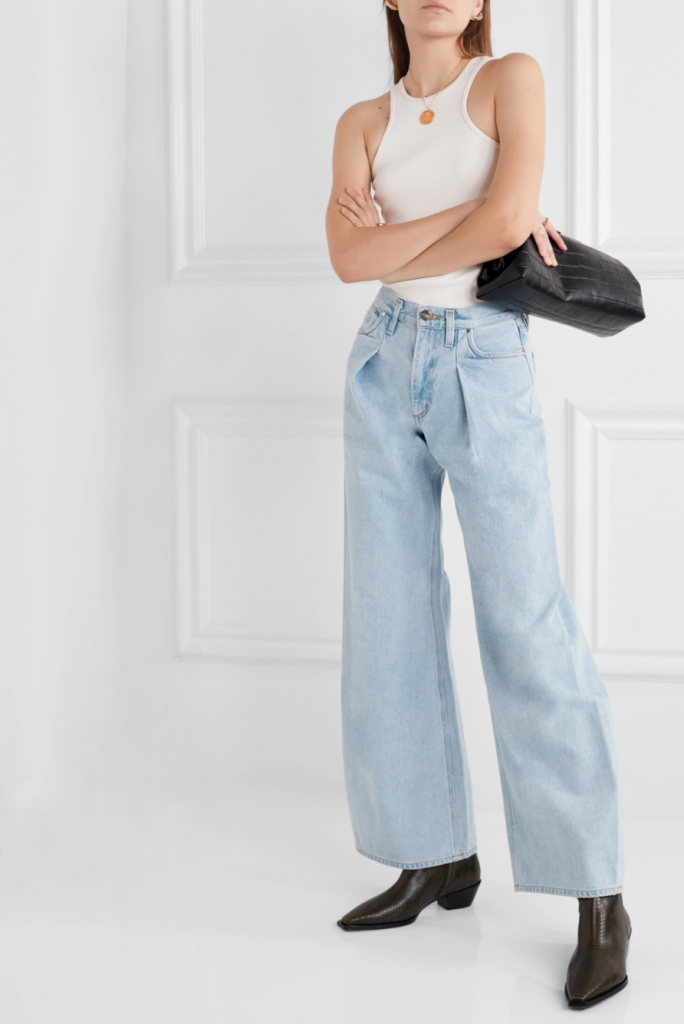 goldsign_net_sustain_pleated_high_rise_wide_leg_jeans_types of jeans for women_revelle