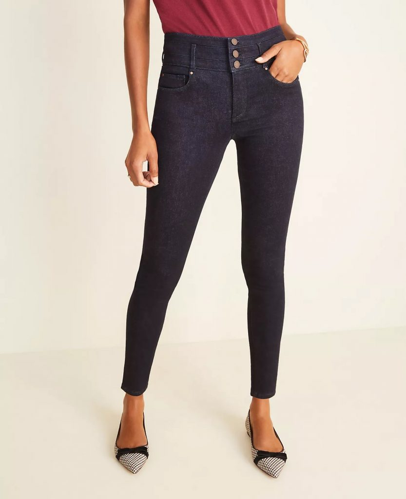 Ann Taylor Petite Curvy Sculpting Pocket High-Rise Skinny Jeans_how to wear jeans to work and look professional_revelle