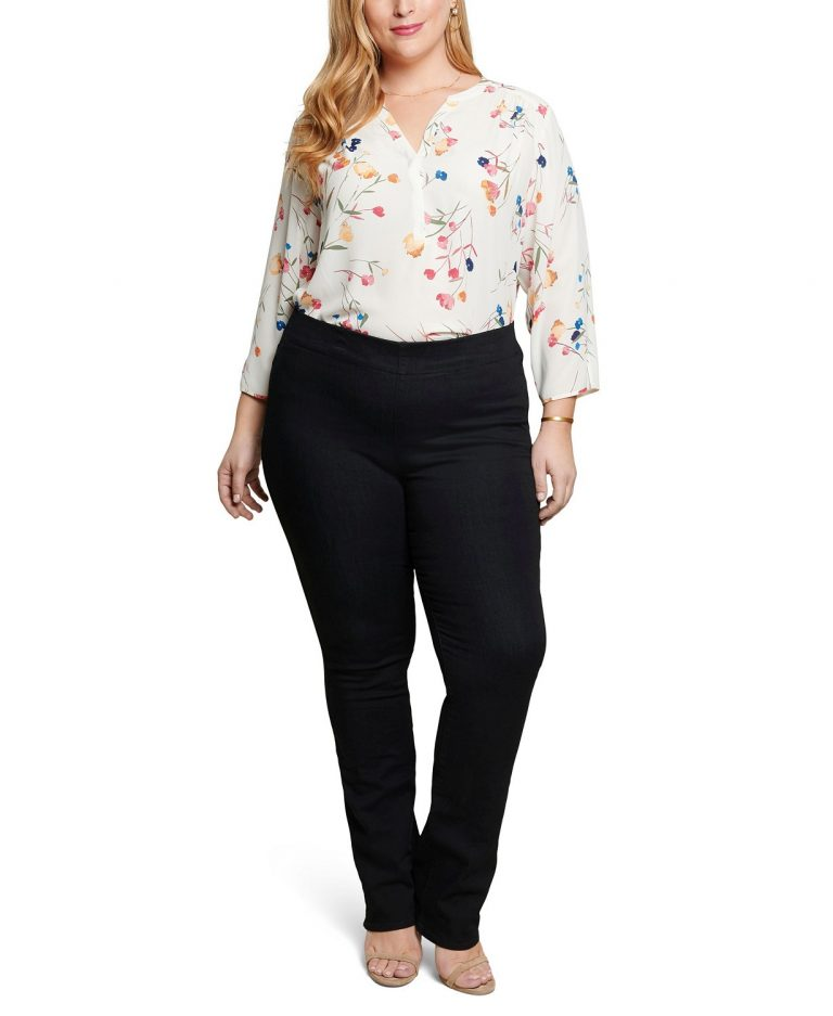 NYDJ Women's Plus Size Marilyn Straight Pull-On Jeans in Cool Embrace Denim_best jeans for travel_revelle