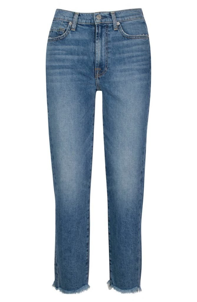 7 For All Mankind Fray Hem Straight Ankle Jeans _womens jeans on sale_revelle