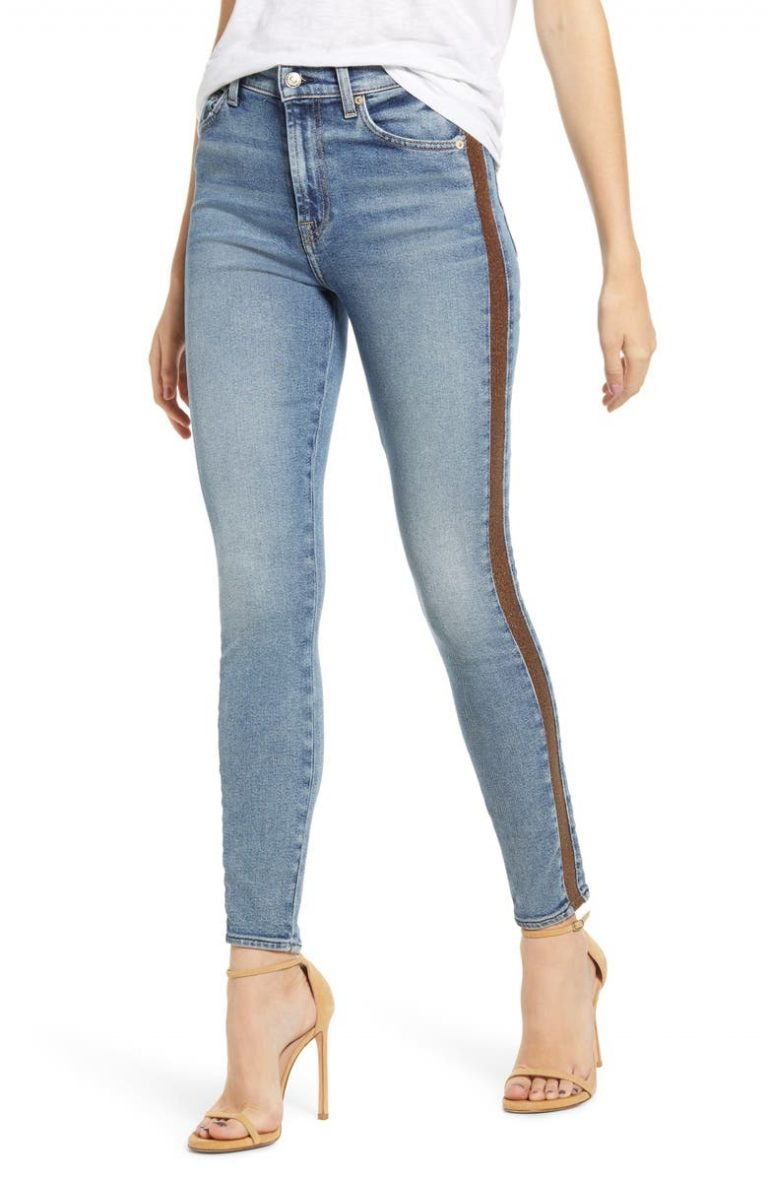 7 For All Mankind Luxe Vintage Side Stripe Skinny Jeans_womens jeans on sale_revelle
