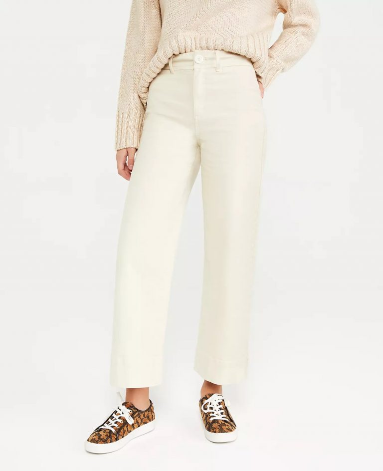 Ann Taylor The Petite Onseam Pocket High-Rise Wide-Leg Jean_cream colored jeans_revelle