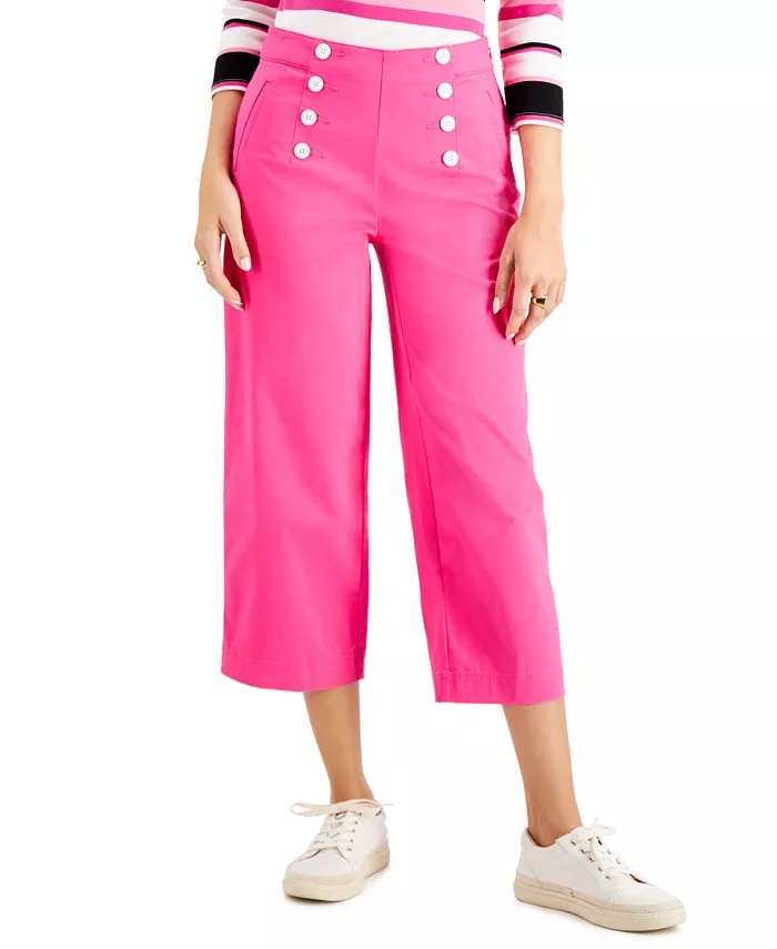 Charter Club Cropped Wide-Leg Twill Pant, Created For Macy's _cropped jeans women_revelle