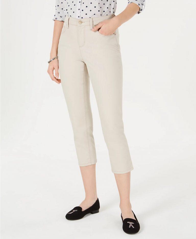 Charter Club Petite Tummy-Control Bristol Capri Jeans, Created For Macy's_cream colored jeans_revelle