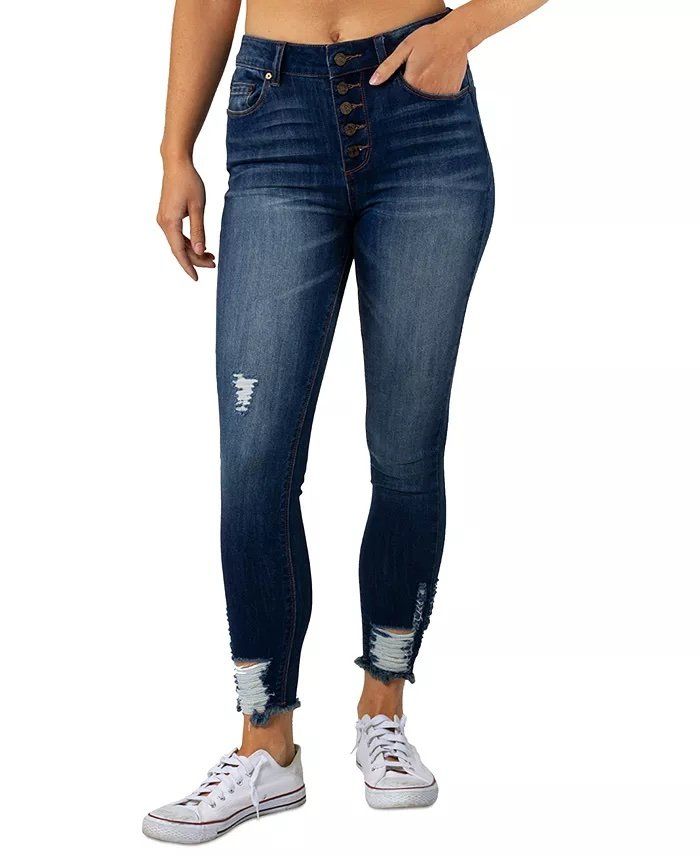 Indigo Rein Juniors' Ripped Curvy Button-Fly Skinny Jeans_womens jeans on sale_revelle