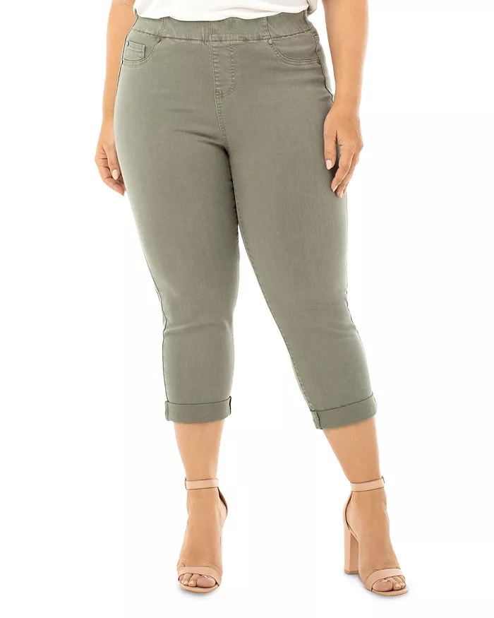 Liverpool Los Angeles Plus-Size Chloe Pull-On Cropped Jeans In Saguaro Plum_cropped jeans women_revelle