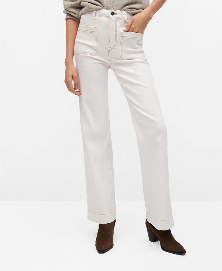 Mango Wide-Leg Jeans With Decorative Seams_cream colored jeans_revelle