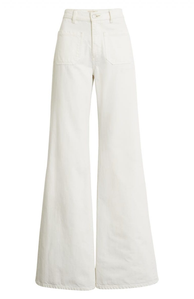 Nili Lotan Florench High-Waist Bootcut Jeans_cream colored jeans_revelle