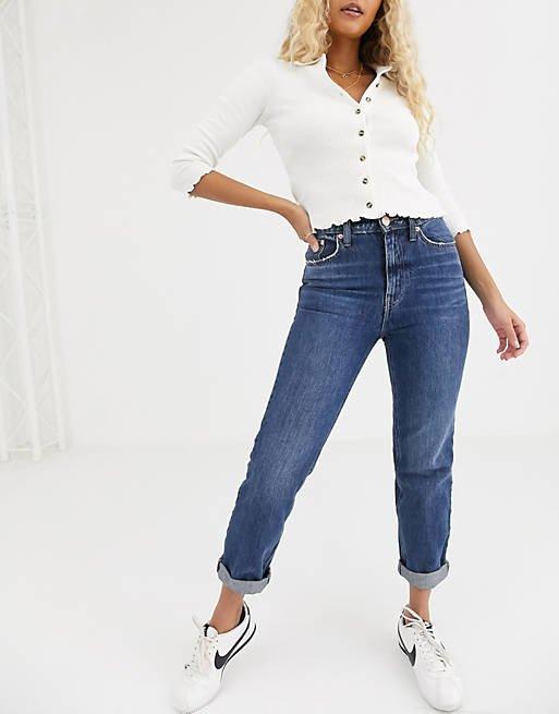River Island Mom Jeans In Dark Blue_womens jeans on sale_revelle