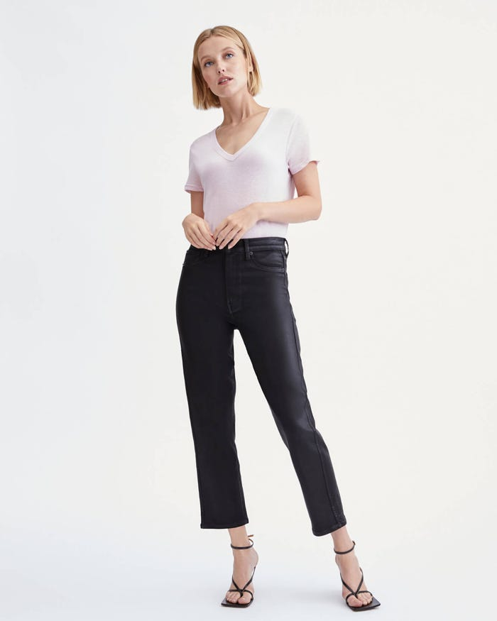 7 For All Mankind Coated High-Waist Cropped Straight in Black_black straight leg jeans_revelle