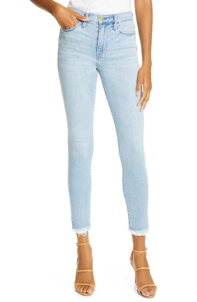 Frame Le Skinny High-Waist Raw Hem Ankle Jeans_best jeans under 100_revelle