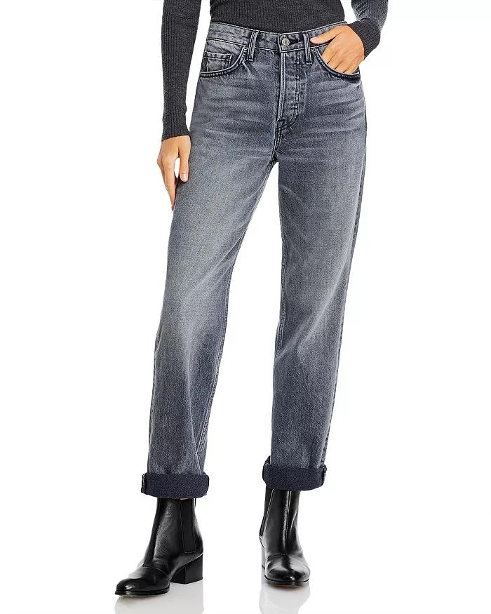 Grlfrnd Mica Cuffed Straight-Leg Jeans in Black Smoke_black straight leg jeans_revelle