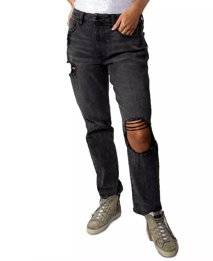 Indigo Rein Juniors' Ripped High-Rise Jeans_high-waisted ripped jeans_revelle
