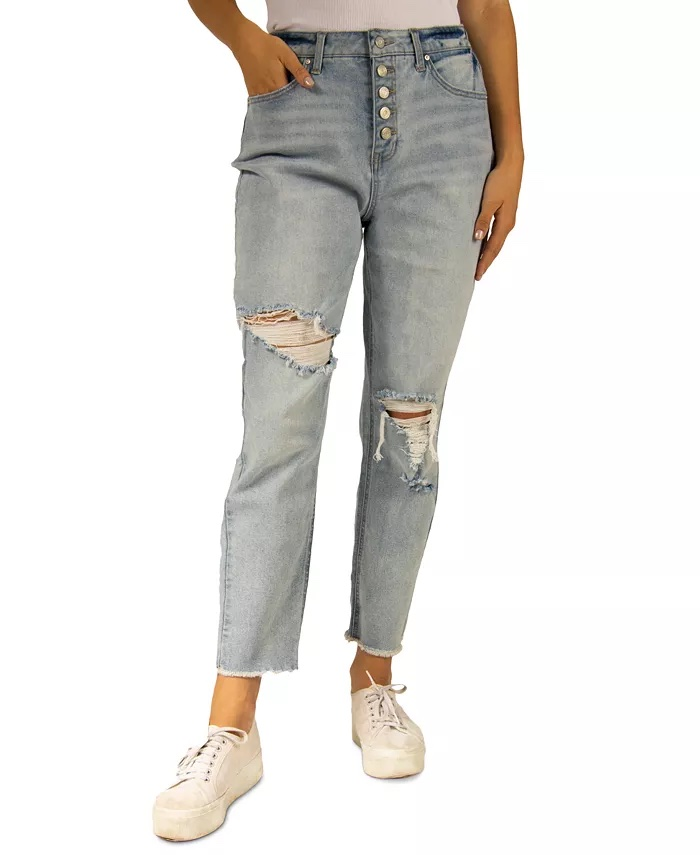 Indigo Rein Juniors' Ripped High-Rise Mom Jeans_high-waisted ripped jeans_revelle