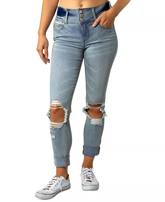 Indigo Rein Juniors' Triple-Button Ripped Cuffed Jeans_best jeans under 100_revelle
