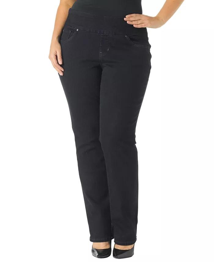 JAG Plus-Size Peri Straight-Leg Jeans_black straight leg jeans_revelle