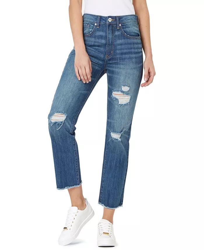Numero Ripped High-Rise Frayed-Hem Denim Jeans_high-waisted ripped jeans_revelle