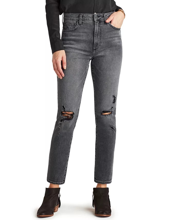 Sam Edelman Denim The Stiletto Distressed Straight-Leg Jeans_black straight leg jeans_revelle