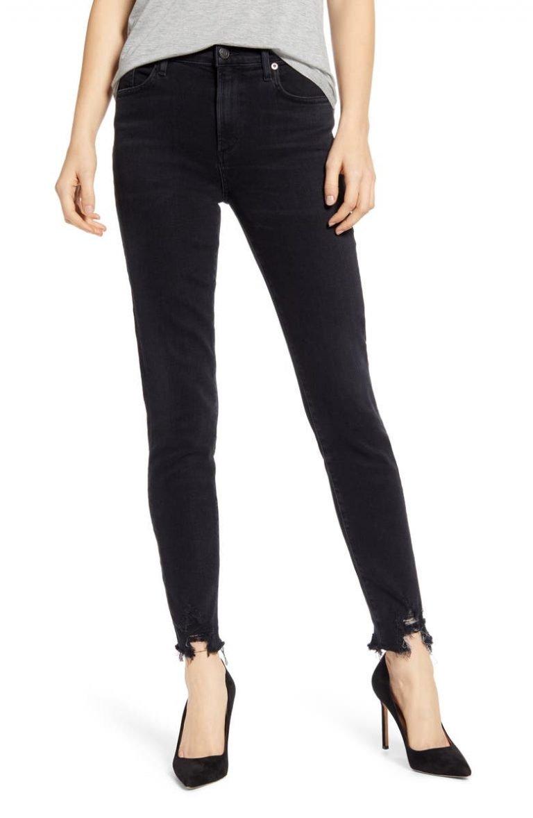 Agolde Sophie High-Waist Destroyed Hem Ankle Skinny Jeans_best black jeans for women_revelle