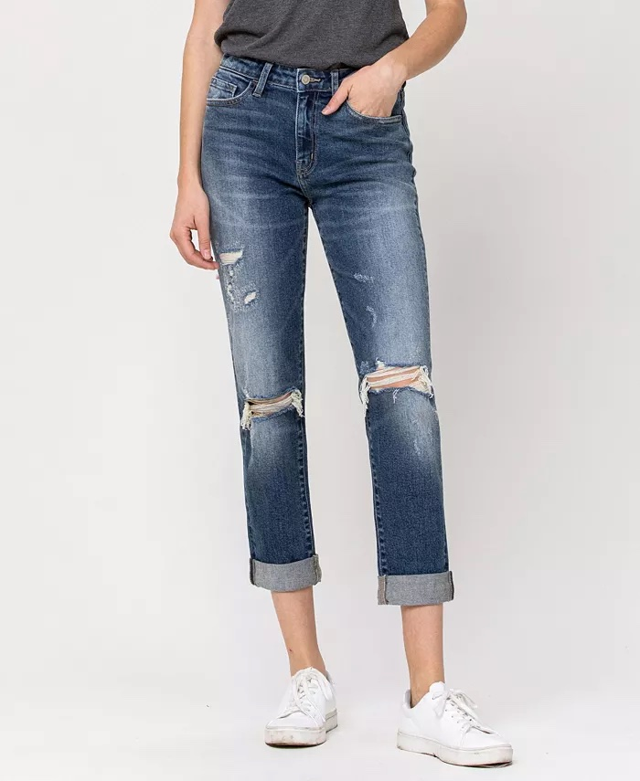Flying Monkey Distressed Roll Up Stretch Mom Jeans_best blue jeans for women_revelle
