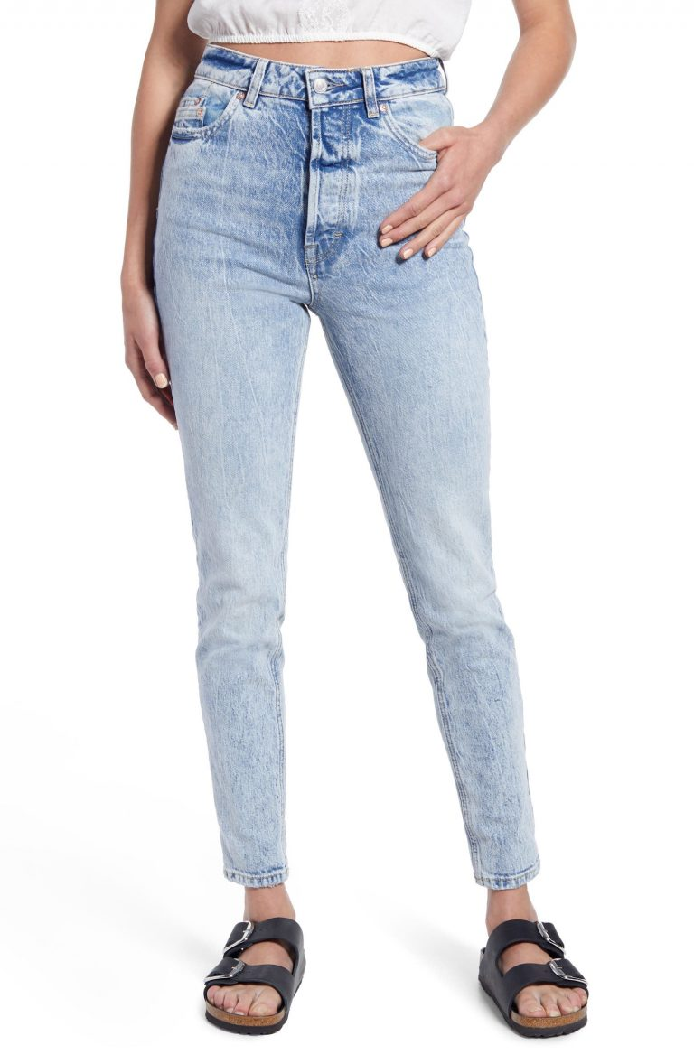 Free People Zuri Ultra High Waist Ankle Mom Jeans_best blue jeans for women_revelle