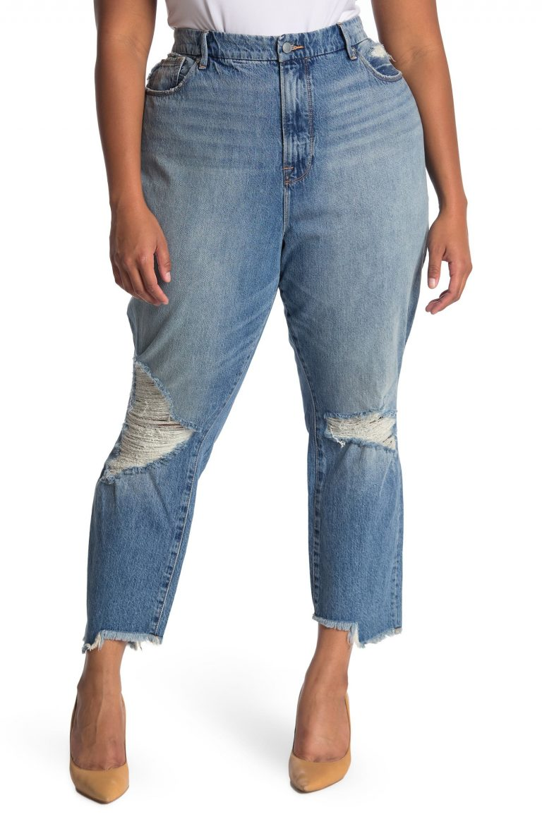 GOOD AMERICAN Good Vintage Distressed Side Step Jeans_best jeans for plus size women_revelle