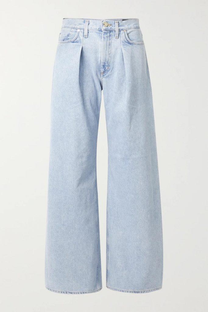 Goldsign NET SUSTAIN Pleated High-Rise Wide Leg Jeans_best blue jeans for women_revelle
