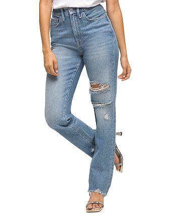 Good American Good Boy Distressed Boyfriend Jeans_best blue jeans for women_revelle
