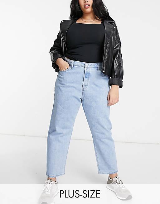 Levi's Plus 501 cropped jeans in light wash blue_best jeans for plus size women_revelle