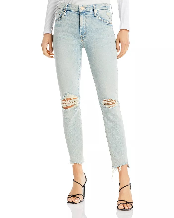 Mother The Stunner Distressed Skinny Jeans_best blue jeans for women_revelle
