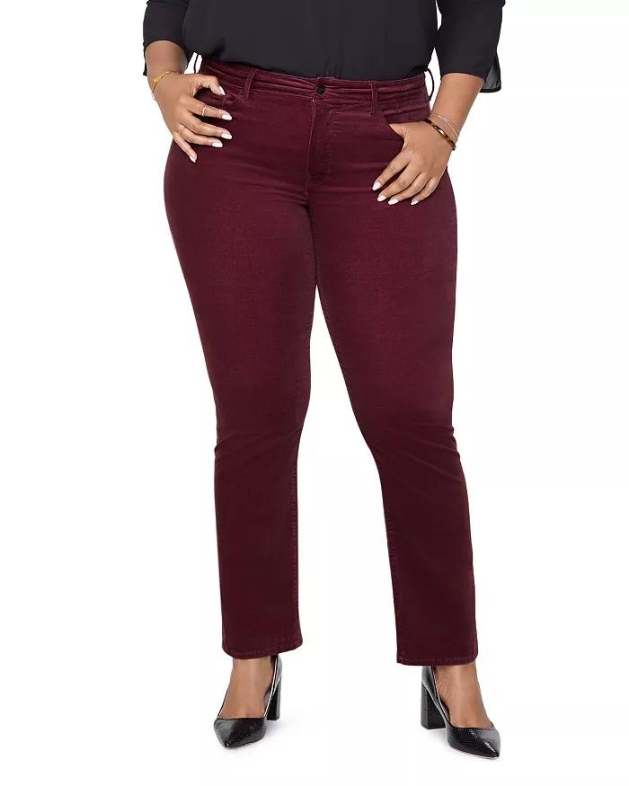 NYDJ Plus Marilyn Velvet Straight-Leg Jeans in Grenache_best jeans for plus size women_revelle