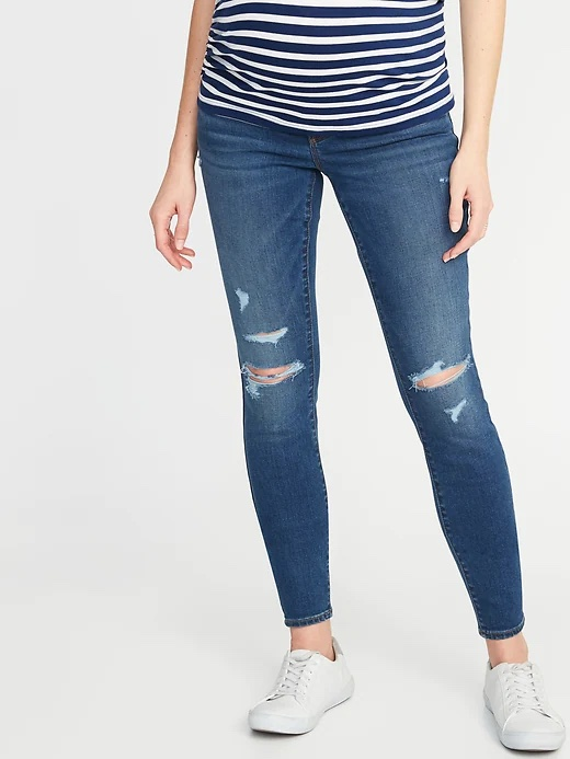 Old Navy Maternity Front Low-Panel Distressed Skinny Jeans_best maternity jeans_revelle