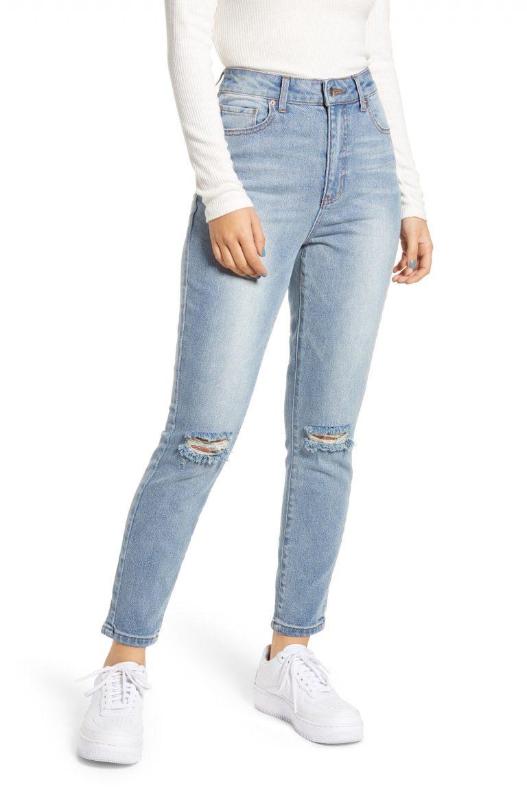 Prosperity Denim Ripped High-Waist Mom Jeans_best blue jeans for women_revelle