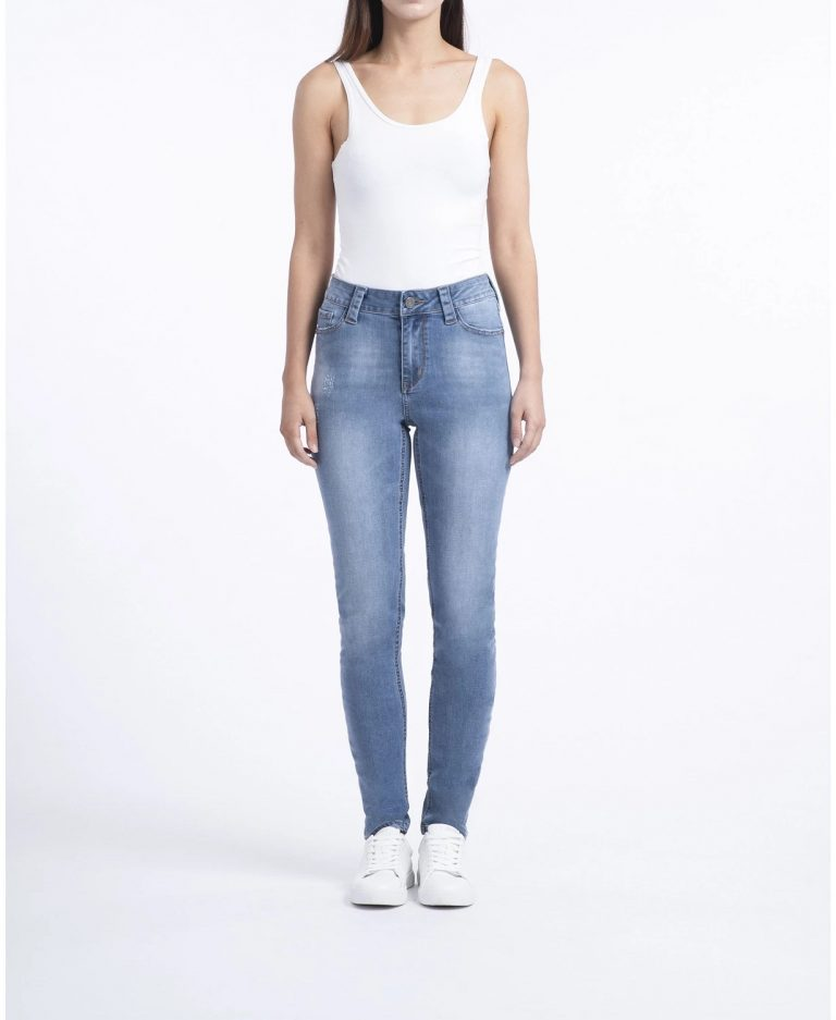Rubberband Stretch Ladies Mid-Rise Skinny Jeans_best blue jeans for women_revelle