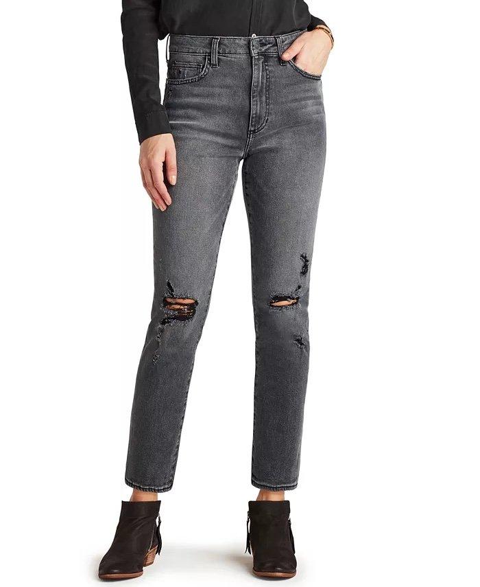Sam Edelman Denim The Stiletto Distressed Straight-Leg Jeans_best jeans for ankle boots_revelle