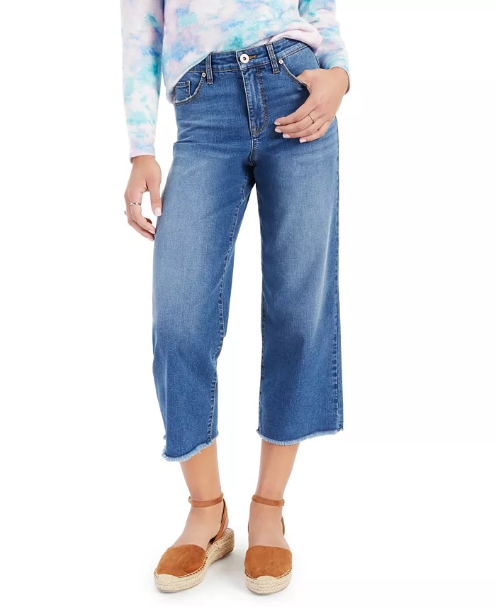 Style & Co Petite Wide-Leg Cropped Jeans, Created For Macy's_best blue jeans for women_revelle
