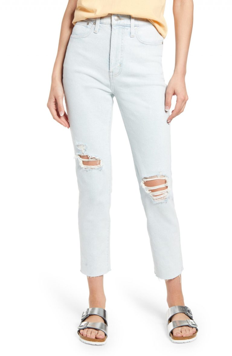 Women's Madewell Mom Jean High-Waist Ripped Raw Hem Jeans_best blue jeans for women_revelle